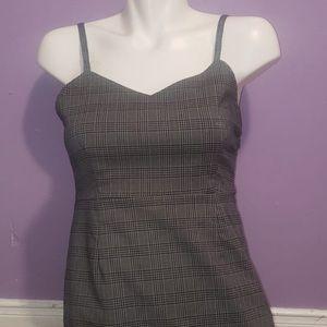 Grey Glen Plaid Stripe Strap V-Neck Mini Dress